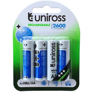 Uniross Performance AA 2600 mAh 1.2V Ni-MH Rechargeable Batteries